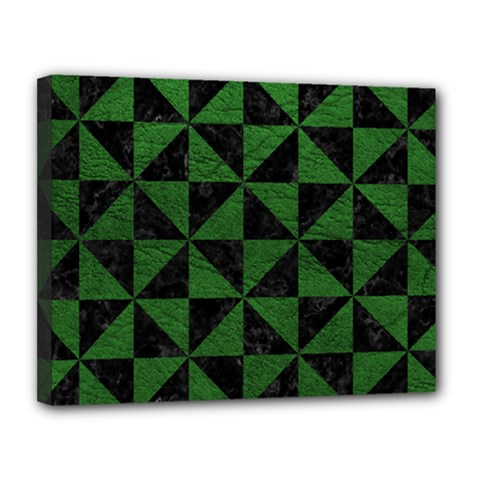 Triangle1 Black Marble & Green Leather Canvas 14  X 11