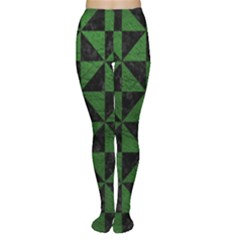 Triangle1 Black Marble & Green Leather Women s Tights
