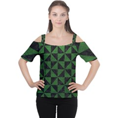 Triangle1 Black Marble & Green Leather Cutout Shoulder Tee