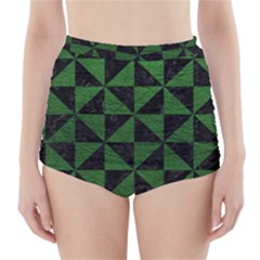 Triangle1 Black Marble & Green Leather High Waisted Bikini Bottoms