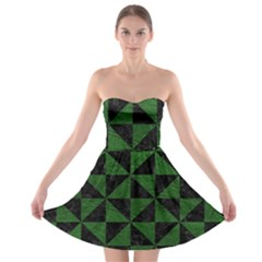 Triangle1 Black Marble & Green Leather Strapless Bra Top Dress