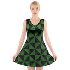 Triangle1 Black Marble & Green Leather V Neck Sleeveless Skater Dress