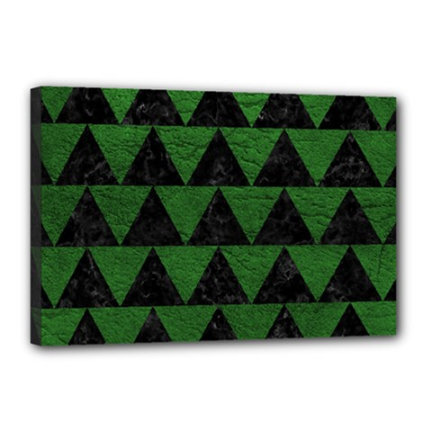 Triangle2 Black Marble & Green Leather Canvas 18  X 12