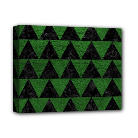 Triangle2 Black Marble & Green Leather Deluxe Canvas 14  X 11