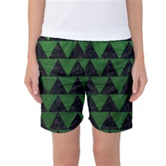 Triangle2 Black Marble & Green Leather Women s Basketball Shorts