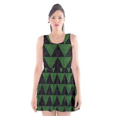 Triangle2 Black Marble & Green Leather Scoop Neck Skater Dress