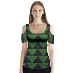 Triangle2 Black Marble & Green Leather Butterfly Sleeve Cutout Tee