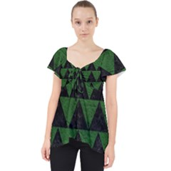 Triangle2 Black Marble & Green Leather Lace Front Dolly Top