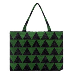 Triangle2 Black Marble & Green Leather Medium Tote Bag