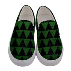 Triangle2 Black Marble & Green Leather Women s Canvas Slip Ons