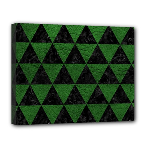 Triangle3 Black Marble & Green Leather Canvas 14  X 11