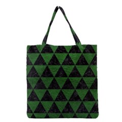 Triangle3 Black Marble & Green Leather Grocery Tote Bag
