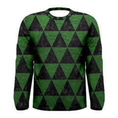 Triangle3 Black Marble & Green Leather Men s Long Sleeve Tee
