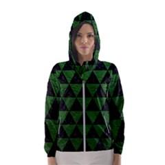 Triangle3 Black Marble & Green Leather Hooded Wind Breaker (women)