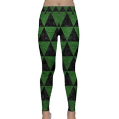 Triangle3 Black Marble & Green Leather Classic Yoga Leggings