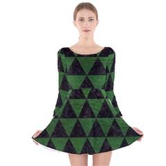 Triangle3 Black Marble & Green Leather Long Sleeve Velvet Skater Dress