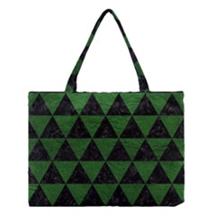 Triangle3 Black Marble & Green Leather Medium Tote Bag