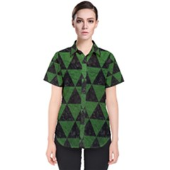 Triangle3 Black Marble & Green Leather Women s Short Sleeve Shirt