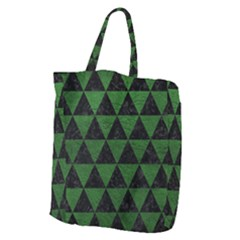 Triangle3 Black Marble & Green Leather Giant Grocery Zipper Tote