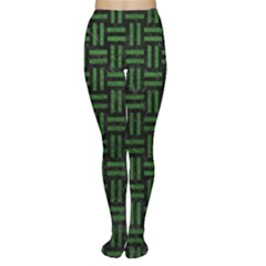 Woven1 Black Marble & Green Leather Women s Tights