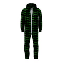 Woven1 Black Marble & Green Leather Hooded Jumpsuit (kids)
