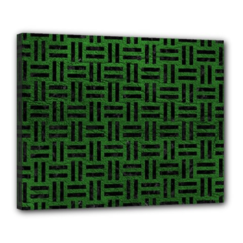 Woven1 Black Marble & Green Leather (r) Canvas 20  X 16