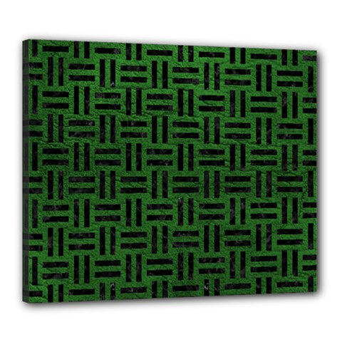 Woven1 Black Marble & Green Leather (r) Canvas 24  X 20
