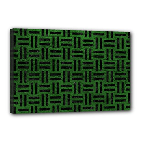 Woven1 Black Marble & Green Leather (r) Canvas 18  X 12