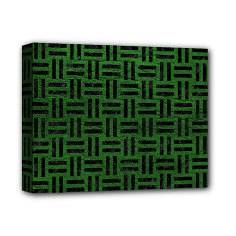 Woven1 Black Marble & Green Leather (r) Deluxe Canvas 14  X 11
