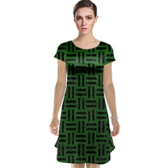 Woven1 Black Marble & Green Leather (r) Cap Sleeve Nightdress