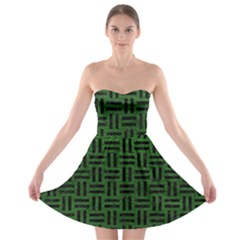 Woven1 Black Marble & Green Leather (r) Strapless Bra Top Dress