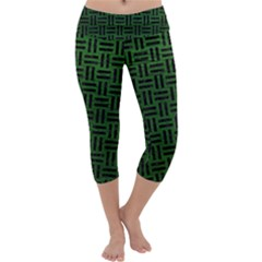 Woven1 Black Marble & Green Leather (r) Capri Yoga Leggings