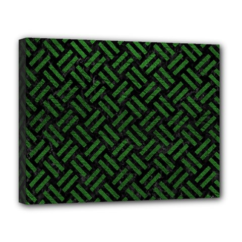 Woven2 Black Marble & Green Leather Canvas 14  X 11