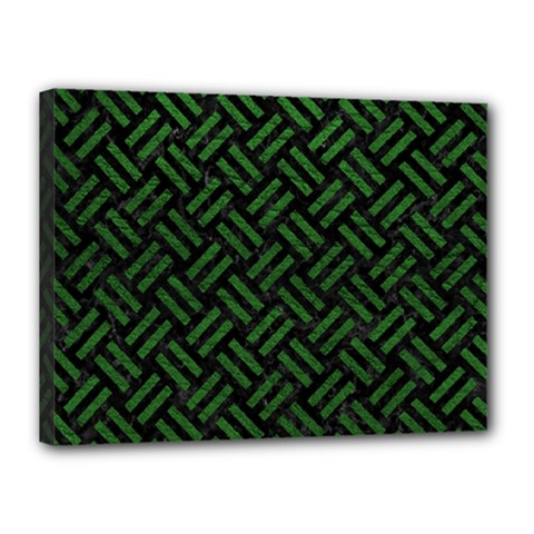 Woven2 Black Marble & Green Leather Canvas 16  X 12
