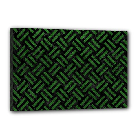 Woven2 Black Marble & Green Leather Canvas 18  X 12