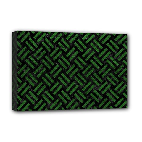 Woven2 Black Marble & Green Leather Deluxe Canvas 18  X 12