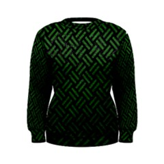 Woven2 Black Marble & Green Leather Women s Sweatshirt