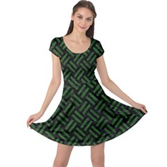 Woven2 Black Marble & Green Leather Cap Sleeve Dress