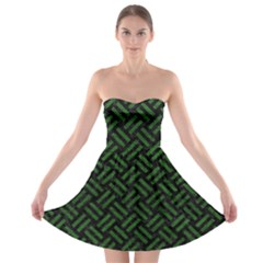 Woven2 Black Marble & Green Leather Strapless Bra Top Dress
