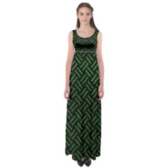 Woven2 Black Marble & Green Leather Empire Waist Maxi Dress