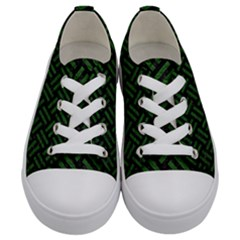Woven2 Black Marble & Green Leather Kids  Low Top Canvas Sneakers