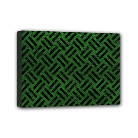Woven2 Black Marble & Green Leather (r) Mini Canvas 7  X 5
