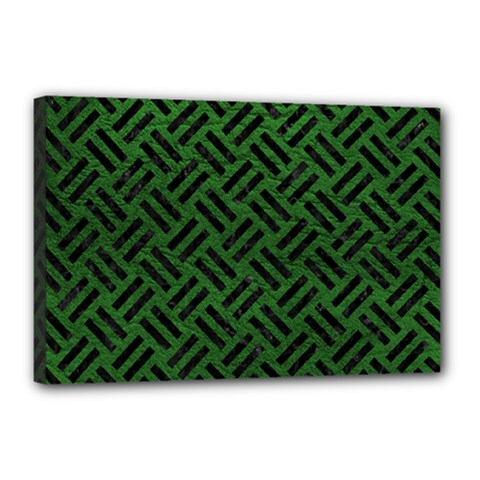 Woven2 Black Marble & Green Leather (r) Canvas 18  X 12