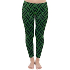 Woven2 Black Marble & Green Leather (r) Classic Winter Leggings
