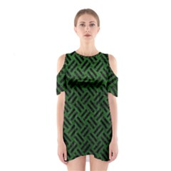 Woven2 Black Marble & Green Leather (r) Shoulder Cutout One Piece