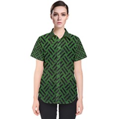 Woven2 Black Marble & Green Leather (r) Women s Short Sleeve Shirt