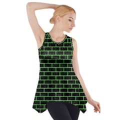 Brick1 Black Marble & Green Watercolor Side Drop Tank Tunic
