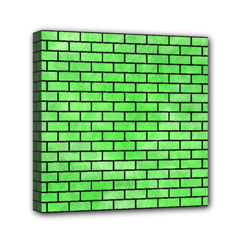 Brick1 Black Marble & Green Watercolor (r) Mini Canvas 6  X 6