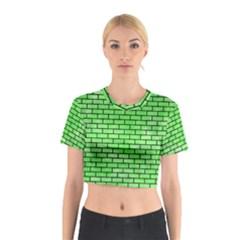 Brick1 Black Marble & Green Watercolor (r) Cotton Crop Top