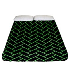 Brick2 Black Marble & Green Watercolor Fitted Sheet (california King Size)